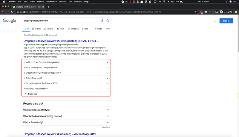 faq schema takes up half of the search page