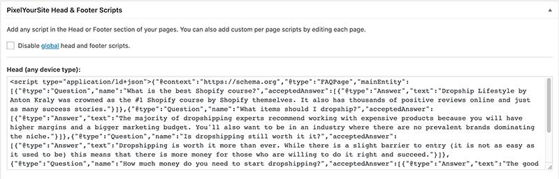 how to add faq schema to post header